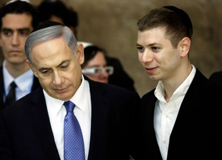 Image: Israeli Prime Minister Benjamin Netanyahu and his son Yair
