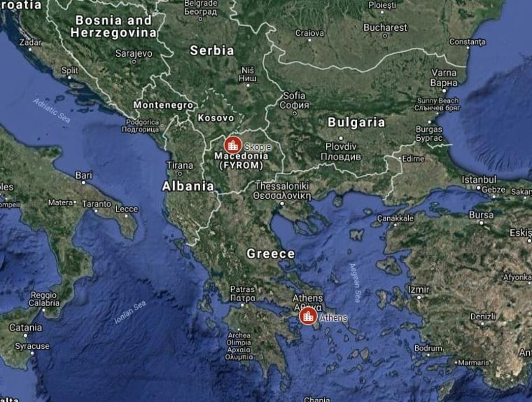 Image: Map of Macedonia and Greece