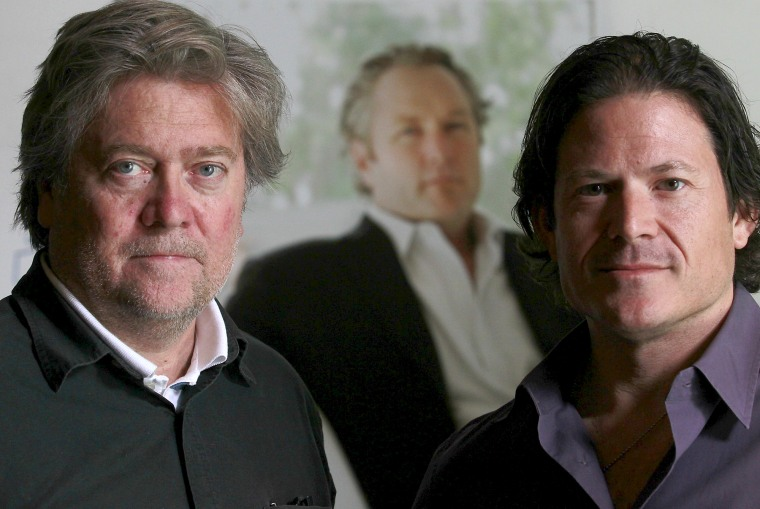 Image: Larry Solov, right, and Steve Bannon, left
