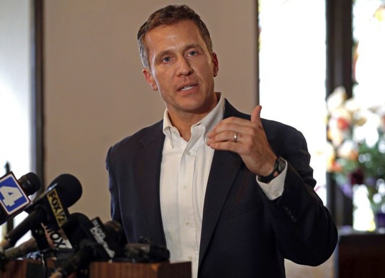Missouri Gov. Eric Greitens speaks to the media at Washington Metropolitan AME Zion Church in St. Louis on Sept. 11, 2017.