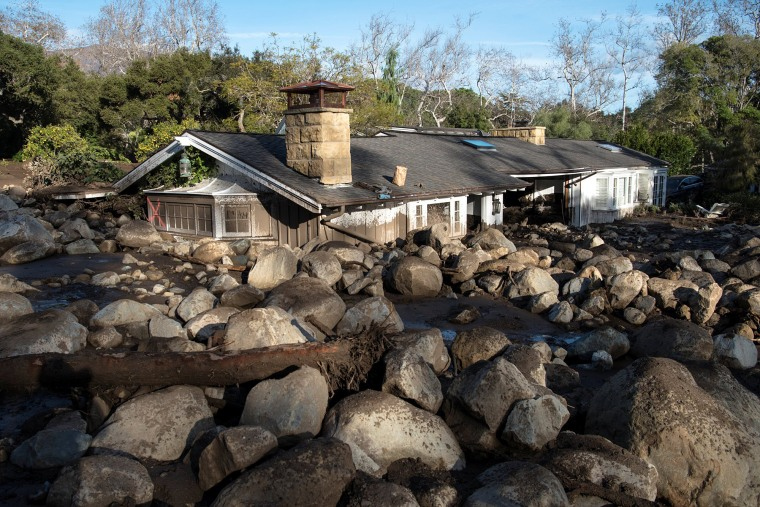 Image: A home on Glen Oaks Road damaged by mudslides in Montecito