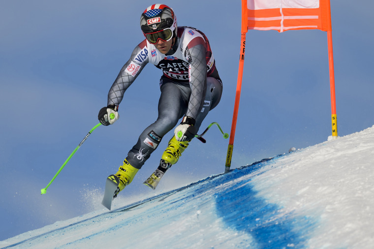 Steven Nyman of the U.S. United States speeds down the course during a training session at the Alpine skiing World Cup in Wengen, Switzerland, on Jan. 11.