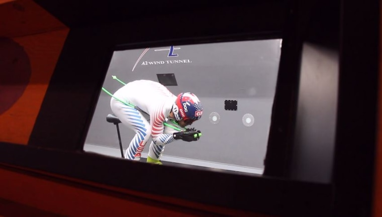 "Nyman in racing position in a wind tunnel. The three-time Olympian says he visits wind tunnels ""two to four times a year."""