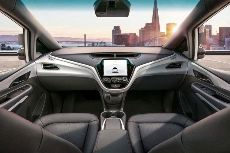 The futuristic interior of the driverless Chevrolet Bolt EV.