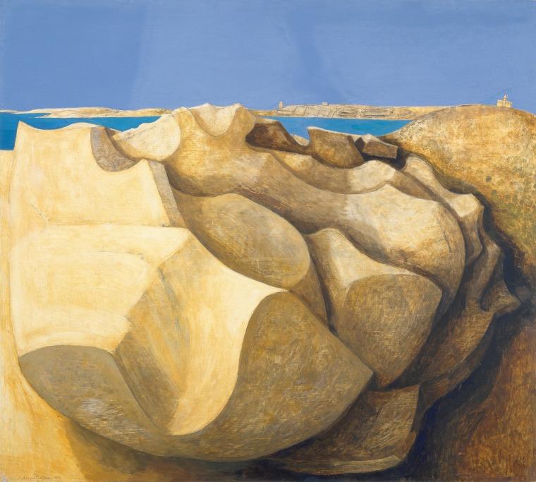 """""""Rocks, St Mary's, Scilly Isles,"""" 1953, by Wilhelmina Barns-Graham."""
