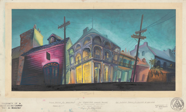 "Color sketch for backdrop of ""A Streetcar Named Desire."""