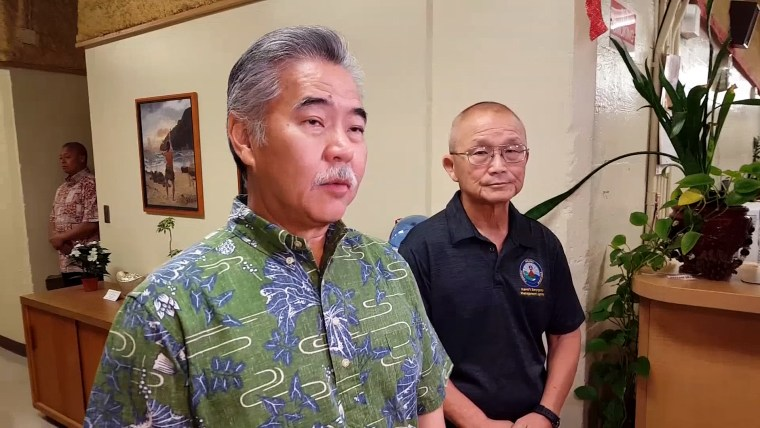 Image: Gov. David Ige speaks at a news conference about the missile alert that rattled Hawaii in the morning hours of Jan. 13, 2018.