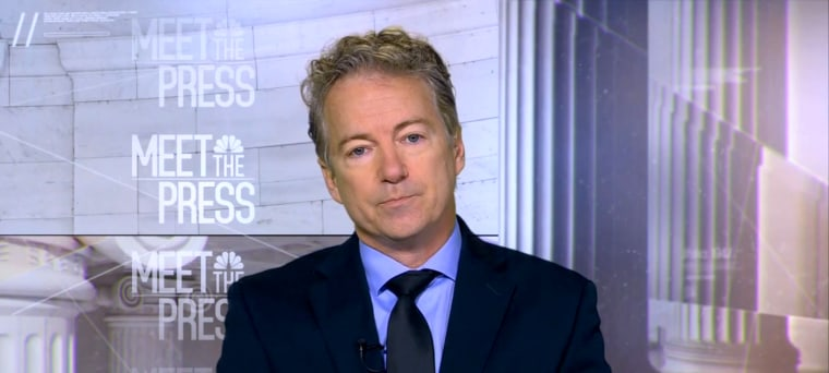 Image: Senator Rand Paul (R-KY) appears on Meet the Press on Jan. 14, 2018.