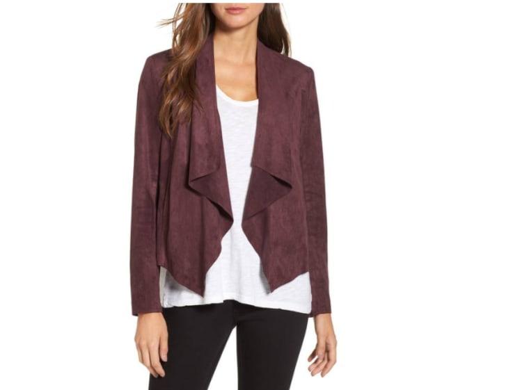 Faux suede jacket in maroon