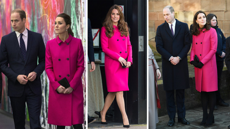 For an appearance today with husband Prince William, Kate wrapped up her growing bump in a fuschia coat by British brand Mulberry. She first wore the coat during a visit to the National September 11 Memorial Museum on December 9, 2014 (left), and later in March 2015 for her last engagement before giving birth to Charlotte (center). She most recently wore it during a visit to Coventry Cathedral on January 16, 2018.