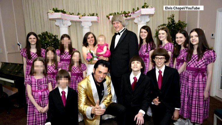 Louise and David Turpin often renewed their wedding vows, surrounded by their children. (Only the faces of the adult children are showed here.)