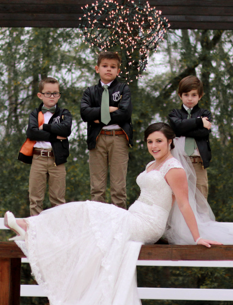 Baby sitter includes 15 of her adorable charges in her wedding