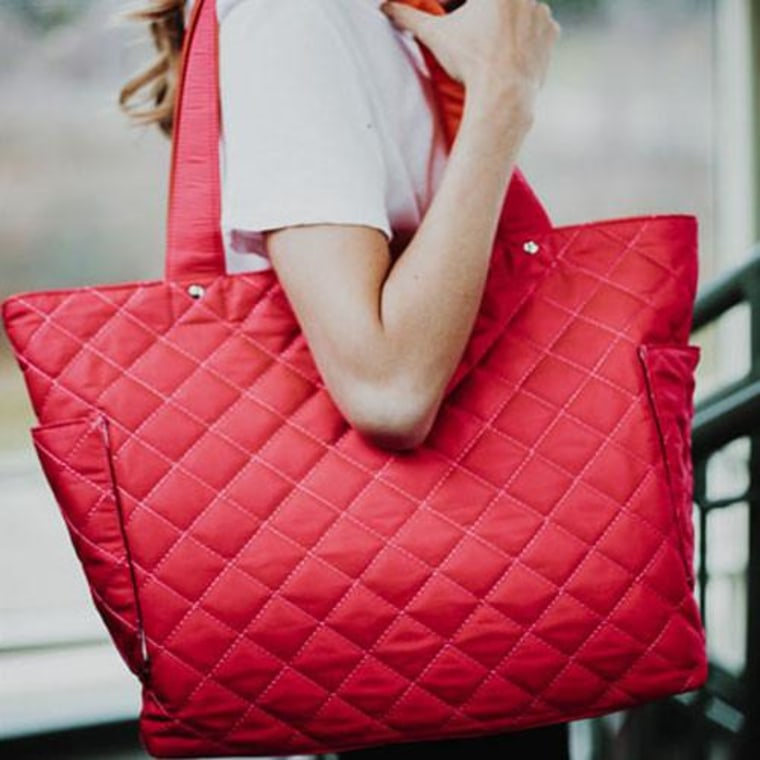 Tote bag on woman in pink