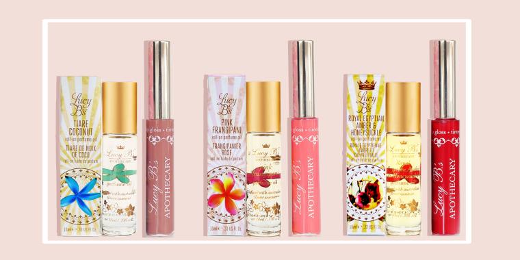 Tiare Coconut Rollon and Nudie Gloss, Pink Frangipani Rollon and Pink Bikini Gloss, Amber Honeysuckle Rollon and Ruby Red Gloss