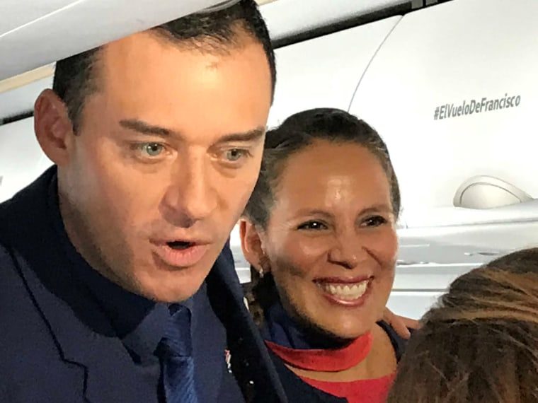 Flight attendants who were married by the pope during ceremony on flight in Chile