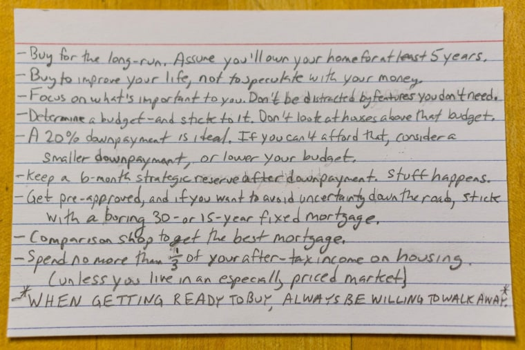 Harold Pollack's home advice, on an index card