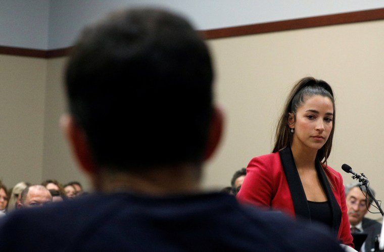 Aly Raisman speaks at the sentencing hearing for Larry Nassar