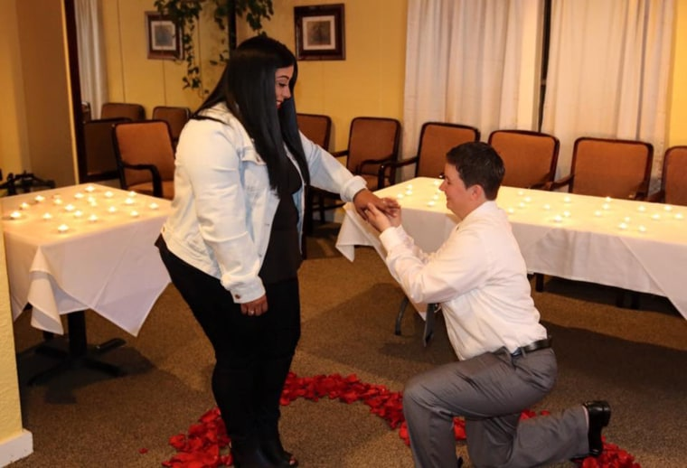 Lewis proposed with a sentimental, candle-lit moment that brought Gonzales to tears.