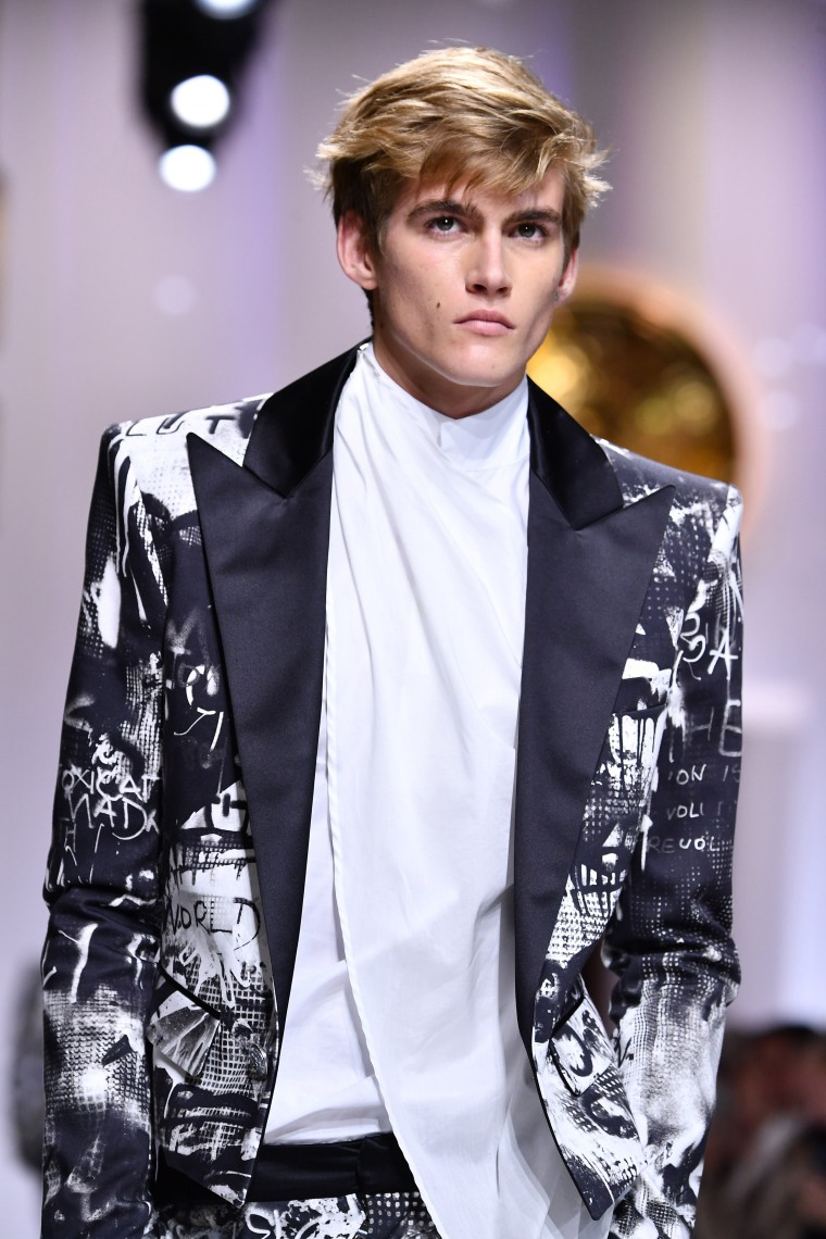 Presley Walker Gerber in the Balmain Homme menswear show at Paris Fashion Week