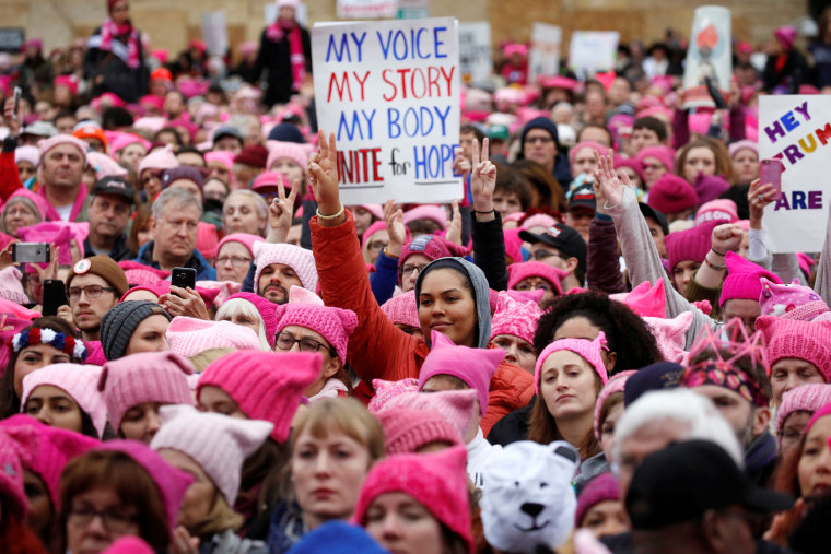 Image: People gather for the Women's March in Washington, DC, Jan. 21, 2017.