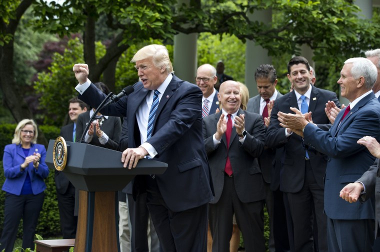 Image: Trumps speaks after the House voted to repeal and replace Obamacare