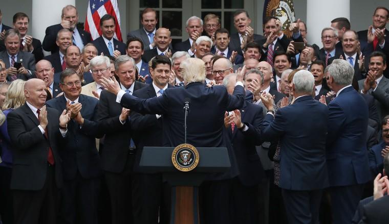 Image: President Donald Trump congratulates House Republicans