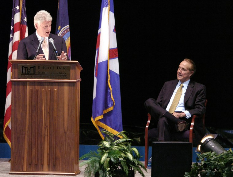 Image: Bill Clinton Gives Inaugural Lecture At Robert J. Dole Institute of Politics