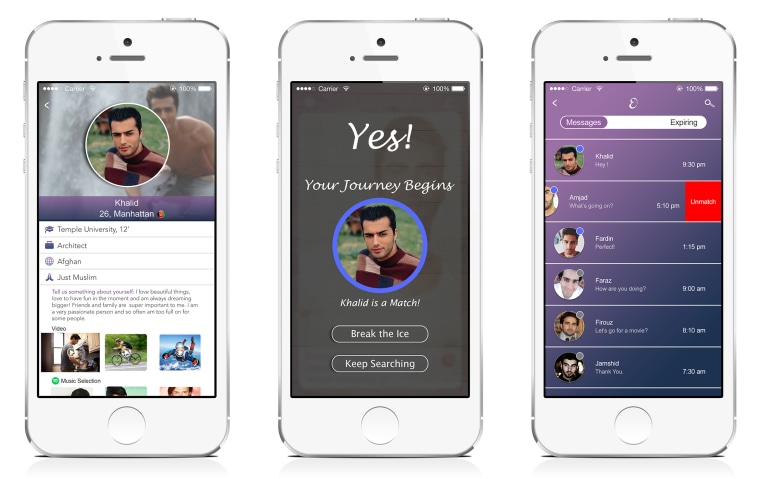 Mockups of Eshq, a dating app tailored toward Muslims where women send the first messages.