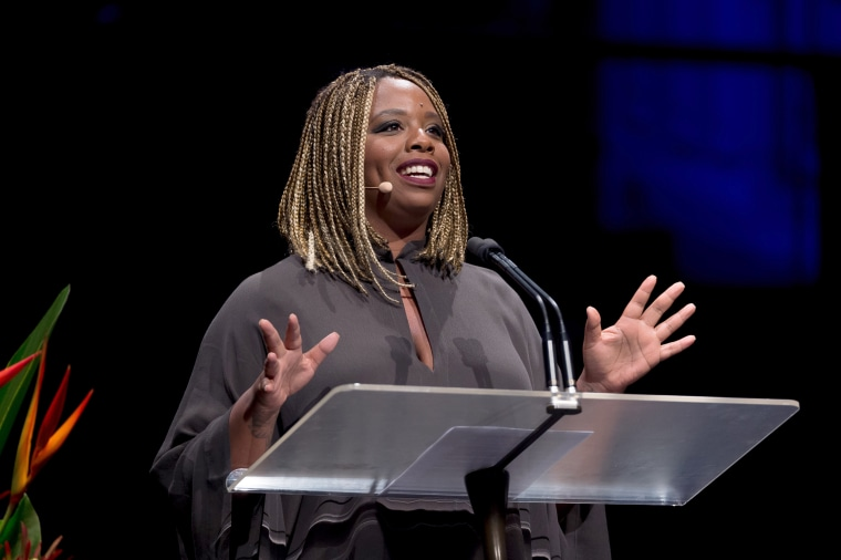 Image: Patrisse Khan-Cullors speaks at an event.