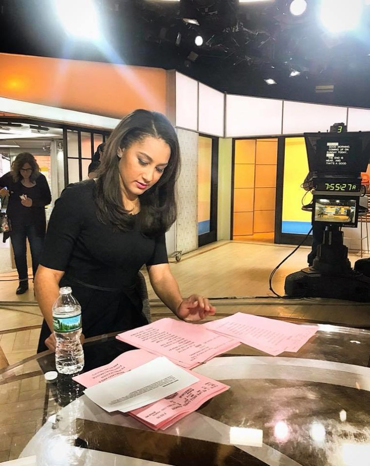 "Morgan Radford preparing to anchor ""Sunday Today"" earlier this month."