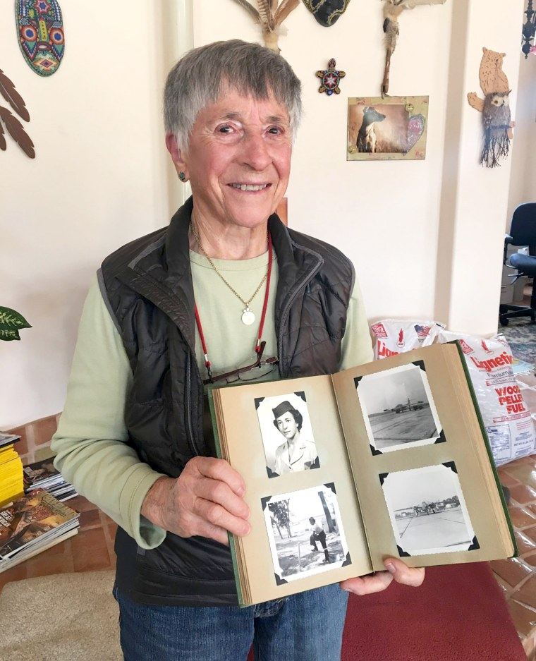 Image: Helen James with her Air Force images.