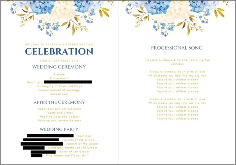 A partially blacked out version of the wedding program same-sex couple Stephen Heasley and Andrew Borg were supposed to receive from Vistaprint, according to a federal lawsuit.