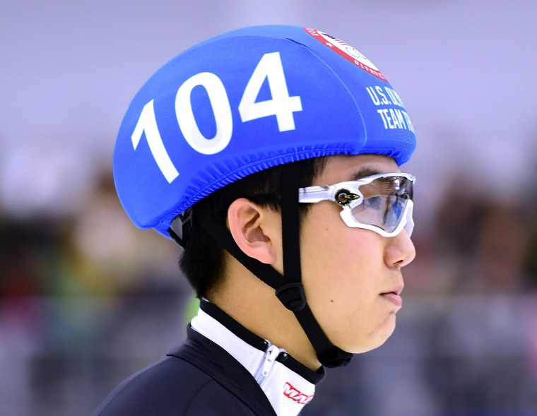 Image:  Thomas Insuk Hong #104 before his race in the Men's 500 Meter Quarter Final