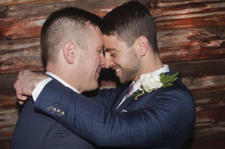 (L-R) Same-sex couple Stephen Heasley and Andrew Borg