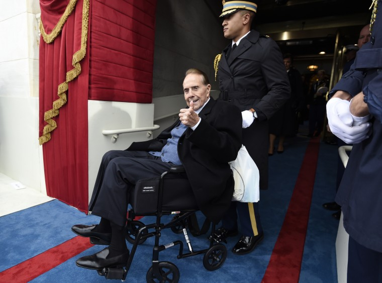 Image: Dole arrives for Donald Trump's  Presidential Inauguration at the Capitol