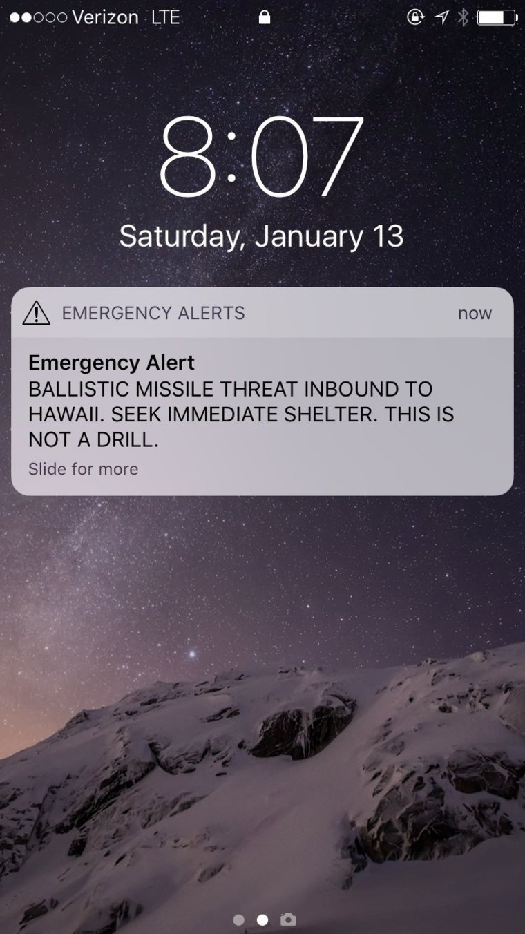 Image: A screen capture from the Twitter account of Congresswoman Tulsi Gabbard (D-HI) shows a missile warning for Hawaii