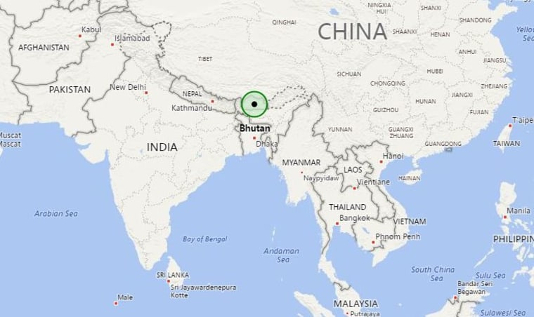 Image: Map showing the location of Bhutan