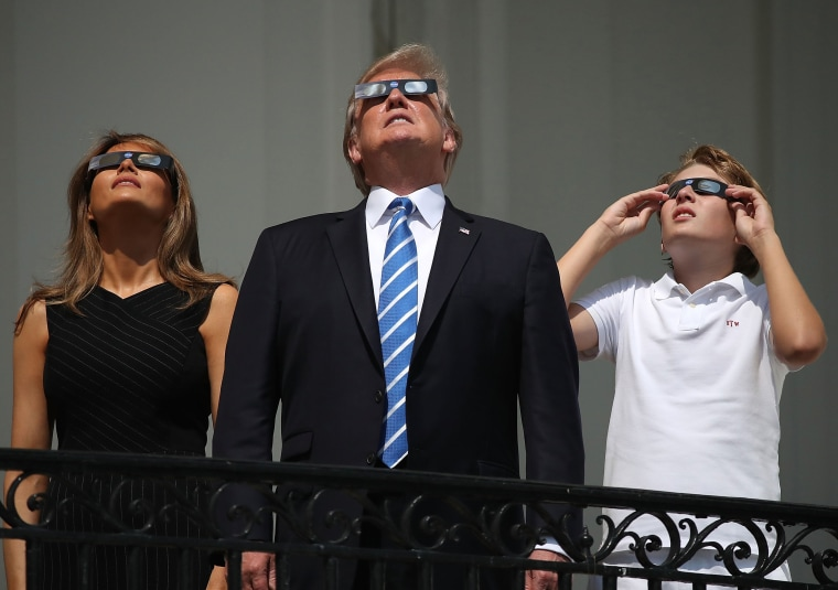 Image: Best of Year 2017: President Trump Views The Eclipse From The White House