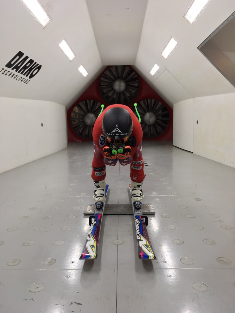 Image: Skier in wind tunnel