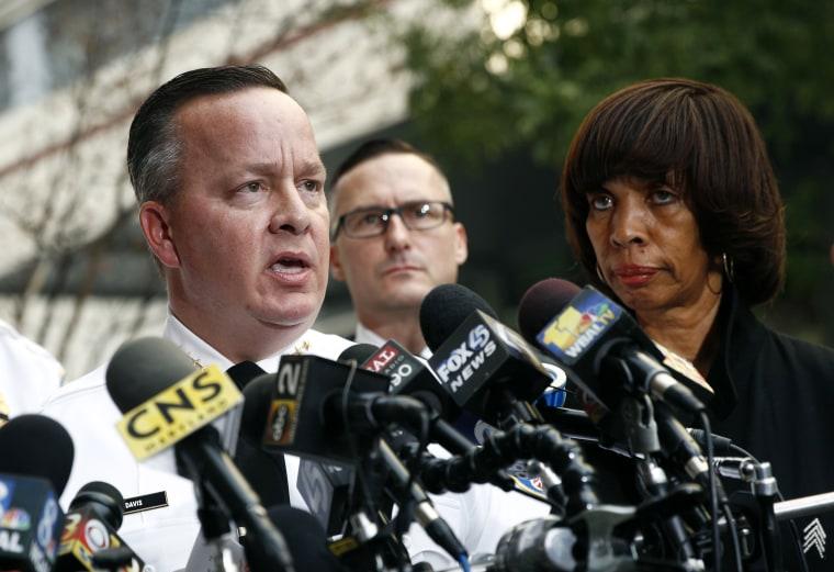 Image: Baltimore Police Department Commissioner Kevin Davis and Mayor Catherine Pugh