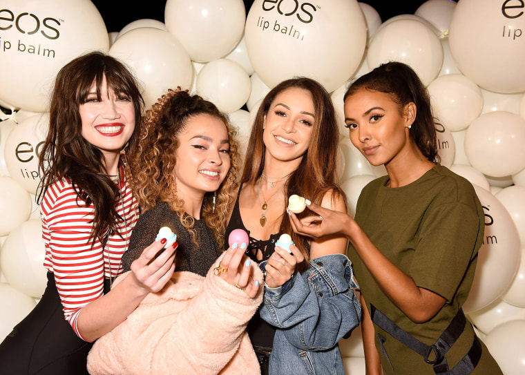 Image: Daisy Lowe, Ella Eyre, Danielle Peazer and Maya Jama attend the EOS Lip Balm Winter Lips Party at Southbank Centre on Nov. 14, 2017 in London, England.