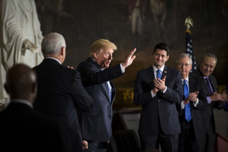 Image: President Donald Trump waves during a congressional Gold Medal ceremony at the U.S. Capitol on Jan. 17, 2018 in Washington D.C.