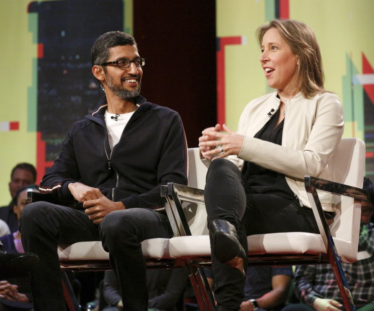 Image: Google CEO Sundar Pichai and YouTube CEO Susan Wojcicki speak at the Revolution Town hall at the Yerba Buena Center for the Arts in San Francisco on Jan. 19, 2018.