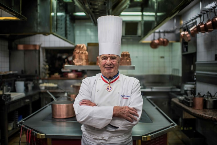 Image: French chef Paul Bocuse poses in his kitchen at L'Auberge de Pont de Collonges, during a culinary work shop in Collonges-au-Mont-d'Or on Nov. 9, 2012.