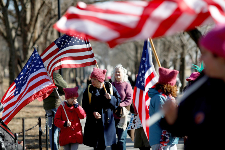 Image: People participate in the second annual Women's March in Washington