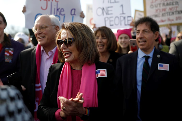 Image: House Minority Leader Nancy Pelosi participates in the second annual Women's March in Washington