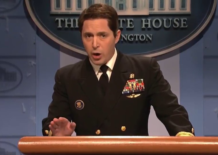 """Saturday Night Live"" castmember Beck Bennett performs in a skit on the show on Jan. 20, 2018."