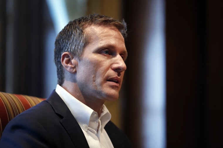 Image: Missouri Gov. Eric Greitens speaks during an interview