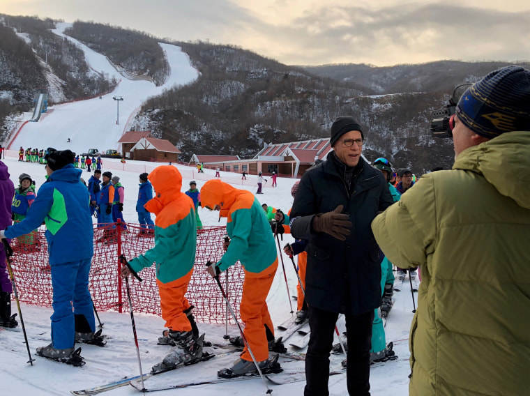 Image: Lester Holt on camera for NBC News at the Masikryong Ski Resort in North Korea
