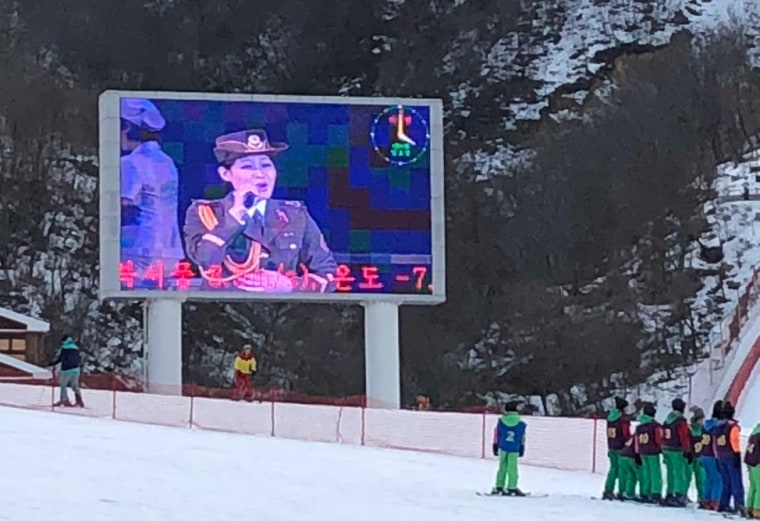 Image: A patriotic video plays on the slopes of the Masiryong Ski Resort in North Korea